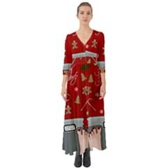 Hilarious Holidays  Button Up Boho Maxi Dress