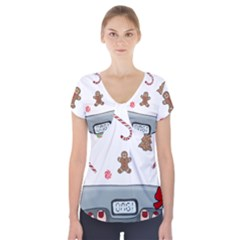 Hilarious Holidays  Short Sleeve Front Detail Top