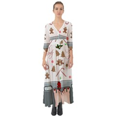 Hilarious Holidays  Button Up Boho Maxi Dress