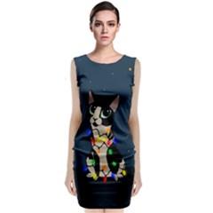 Meowy Christmas Classic Sleeveless Midi Dress