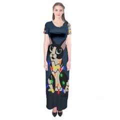 Meowy Christmas Short Sleeve Maxi Dress