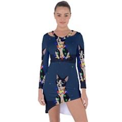 Meowy Christmas Asymmetric Cut Out Shift Dress