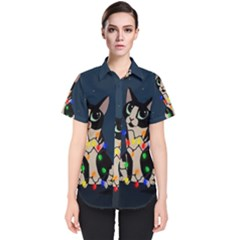 Meowy Christmas Women s Short Sleeve Shirt