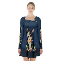 Meowy Christmas Long Sleeve Velvet V Neck Dress