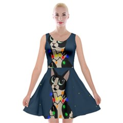 Meowy Christmas Velvet Skater Dress