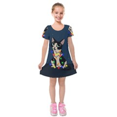 Meowy Christmas Kids  Short Sleeve Velvet Dress