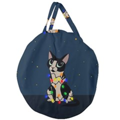 Meowy Christmas Giant Round Zipper Tote
