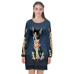 Meowy Christmas Long Sleeve Chiffon Shift Dress