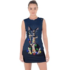 Meowy Christmas Lace Up Front Bodycon Dress
