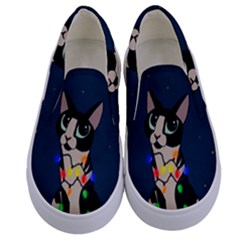 Meowy Christmas Kids  Canvas Slip Ons