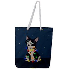 Meowy Christmas Full Print Rope Handle Tote (large)