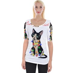 Meowy Christmas Wide Neckline Tee