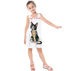 Meowy Christmas Kids  Sleeveless Dress
