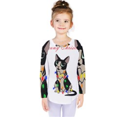 Meowy Christmas Kids  Long Sleeve Tee