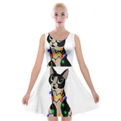 Meowy Christmas Velvet Skater Dress