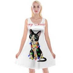 Meowy Christmas Reversible Velvet Sleeveless Dress