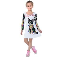 Meowy Christmas Kids  Long Sleeve Velvet Dress