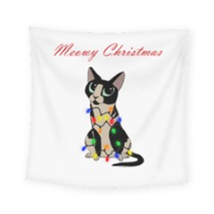 Meowy Christmas Square Tapestry (small)