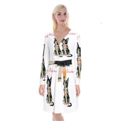 Meowy Christmas Long Sleeve Velvet Front Wrap Dress