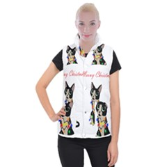 Meowy Christmas Women s Button Up Puffer Vest