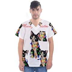 Meowy Christmas Men s V Neck Scrub Top