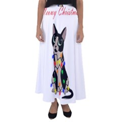 Meowy Christmas Flared Maxi Skirt