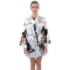 Meowy Christmas Long Sleeve Kimono Robe