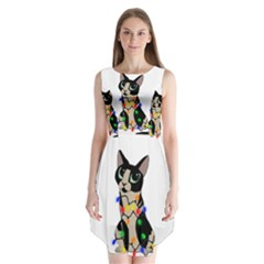 Meowy Christmas Sleeveless Chiffon Dress