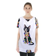 Meowy Christmas Skirt Hem Sports Top
