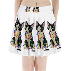 Meowy Christmas Pleated Mini Skirt