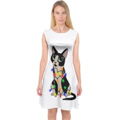 Meowy Christmas Capsleeve Midi Dress