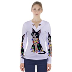 Meowy Christmas V Neck Long Sleeve Top