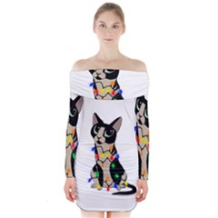 Meowy Christmas Long Sleeve Off Shoulder Dress