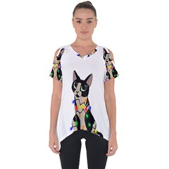 Meowy Christmas Cut Out Side Drop Tee