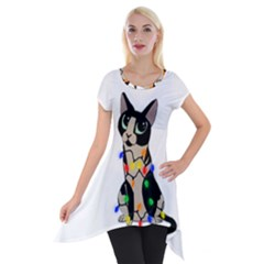 Meowy Christmas Short Sleeve Side Drop Tunic