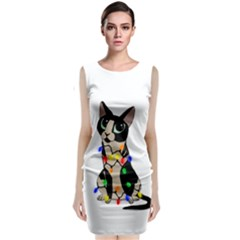 Meowy Christmas Sleeveless Velvet Midi Dress