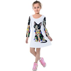 Meowy Christmas Kids  Long Sleeve Velvet Dress