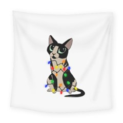 Meowy Christmas Square Tapestry (large)