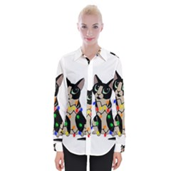 Meowy Christmas Womens Long Sleeve Shirt