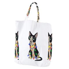 Meowy Christmas Giant Grocery Zipper Tote
