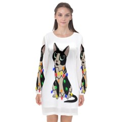 Meowy Christmas Long Sleeve Chiffon Shift Dress
