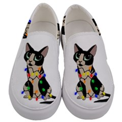 Meowy Christmas Men s Canvas Slip Ons