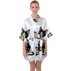 Meowy Christmas Quarter Sleeve Kimono Robe