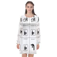 Holidays Long Sleeve Chiffon Shift Dress