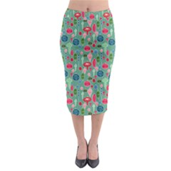 Vintage Christmas Hand Painted Ornaments In Multi Colors On Teal Midi Pencil Skirt