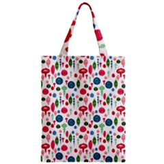 Vintage Christmas Hand Painted Ornaments In Multi Colors On White Zipper Classic Tote Bag