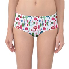 Vintage Christmas Hand Painted Ornaments In Multi Colors On White Mid Waist Bikini Bottoms