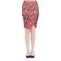Vintage Christmas Hand Painted Ornaments In Multi Colors On Rose Midi Wrap Pencil Skirt