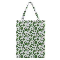 Vintage Christmas Ornaments In Green On White Classic Tote Bag