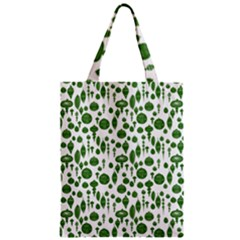 Vintage Christmas Ornaments In Green On White Zipper Classic Tote Bag